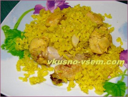 Рис с луком и курицей