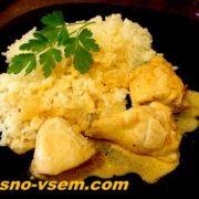 Курица в соусе на сковороде