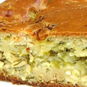 Пирог с пекинской капустой и ветчиной